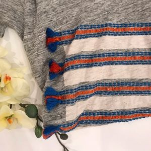 J Crew Gray Linen Embroidered Tassel T-shirt